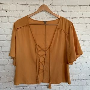 NWOT Bohemian Style Lace Up Top